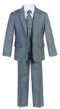 Magen Kids Boys Formal Bridal 5 Pcs Set Suit Size 2-18 GRAY 2 Buttons B18