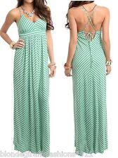 Green/White Stripe Criss-Cross Strap Laced Back Halter Cami Maxi Dress