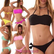Bikini costume bagno fascia effetto sangallo due pezzi mare donna NUOVO V1308