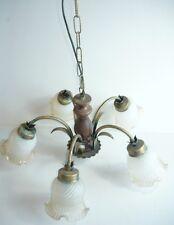 Lampadario da inetrno camera cucina legno e ferro a 5 luci con vetri