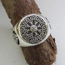 Wikinger Kompass  Ring Silber 925er Herren Viking Vegvisir Wotansknoten Valknut