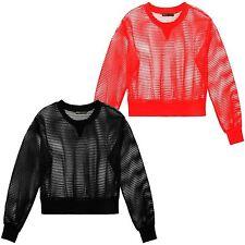 New Ladies Mesh Fishnet Full Sleeve T-Shirts Blouse Crop Tops 8-14