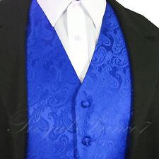 ROYAL BLUE Formal Paisley Tuxedo Suit Dress Vest Waistcoat Wedding Party Prom