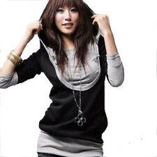 Damen Japan Style Tunika Longshirt Pullover Sweatshirt Oberteil mit Kapuze