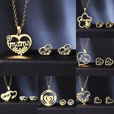 Fashion Women Mama Stainless Steel Jewelry Set Heart Necklace Earrings Jewelry
