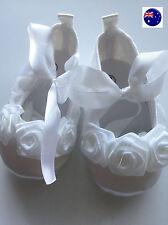 NEW Baby Shower Girls Kids Christening Ballet White Lace Flower Dress Gem Shoes