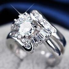 18K White GOLD GF LADY DIAMOND BRIDAL INFINITY WAVE ANNIVERSARY WEDDING RING SET