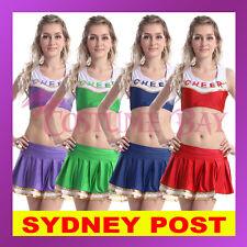 Ladies Glee Cheerleader Uniform School Girl Costume Top Skirt Outfit Fancy Dress