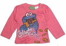 Sesame Street Girls T- Shirt Toddler Long Sleeve Cookie Monster Pink Size 12M-4T