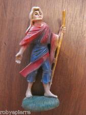 Statuina presepe vintage crib statue italy '60 pastore viandante con bastone