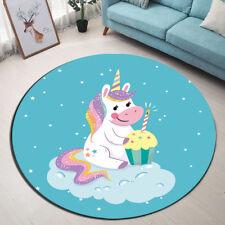 New Design ! Cute Unicorn's Birthday Blue Area Rug Cozy Floor Door Mat Carpet