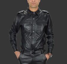 AW-669 Lederhemd,Leather shirt,Chemise Cuir,Soft Leder Hemd,Police style Hemd