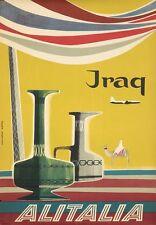 Vintage Alitalia Flights to Iraq Airline Poster A3 Print