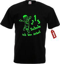 T-Shirt Einschulung Schulanfang 1-2-3 Schule ich bin dabei große Farbauswahl uni