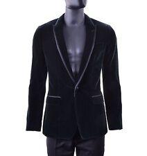 DOLCE & GABBANA TAORMINA Printed Velvet Velour Tuxedo Blazer Jacket Green 05258