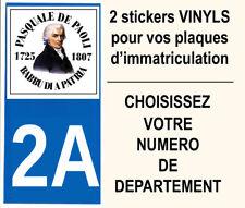 STICKER VINYL PASCAL PAOLI CORSE STICKERS VOITURE PLAQUE IMMATRICULATION