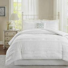 White 5 Piece Bed in a Bag Comforter Bedskirt Shams Bedding Microfiber Linens