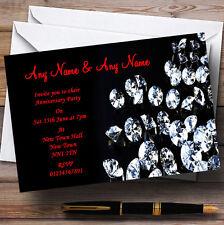 Black Red Diamond Wedding Anniversary Party Personalised Invitations