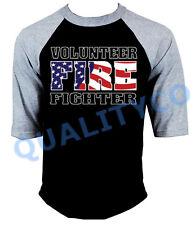 VOLUNTEER FIREFIGHTER Black Baseball R T Shirt Fire Fighter Rescue EMS Dept
