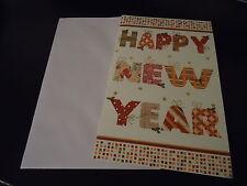 1 CARTE  HAPPY NEW YEAR + 1 ENVELOPPE BLANCHE -  dim.11.8 * 18.8 cm