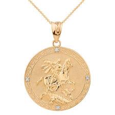 10 Quilates Oro Amarillo Macizo st George Gravable Diamante Medallón Lg