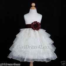 IVORY/CHOCOLATE BROWN PRINCESS WEDDING FLOWER GIRL DRESS 12M 18M 2/2T 4 6 8 10