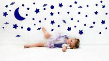 BELLISSIMO cielo notturno Luna Pianeti Stelle Set di vinile adesivo parete stanza bambini nuovo