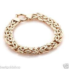 10mm Technibond Byzantine Bracelet 14K Yellow Gold Clad Silver 925 Senora Clasp