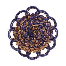 "Decorative Rosette 2.5"", Ultramarine Blue, Tan  / Baroque Collection Style# BR C"