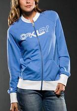 Women's Oakley Re-Tro Track Jacket Full Zip Fleece Grey White Blue Black XS M L