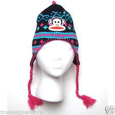 Paul Frank Julius Monkey Peruvian Knitted Beanie Winter Hat for Girls Kids Black