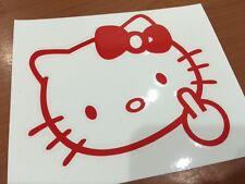 "Hello Kitty middle finger Flip off f..ck bow Logo Decal Car Sticker vinyl 5"""