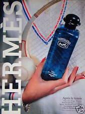 PUBLICITÉ 1983 EAU DE COLOGNE HERMES APRÈS LE TENNIS SAVON DÉODORANT GEL DOUCHE