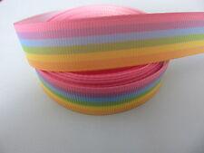 "Grosgrain Pastel Rainbow Ribbon 5/8"" 1.5"" 1"""