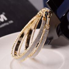 Women Crystal Diamante Rhinestone Silver Plated Hoop Round Earring Best Jewelry