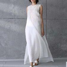 Fashion Vintage Womens Loose Long Summer cotton hemp Beach Line Maxi Shirt Dress