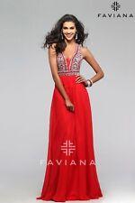 FAVIANA s7500 PROM Formal Pageant Chiffon Dress Red Sizes 0