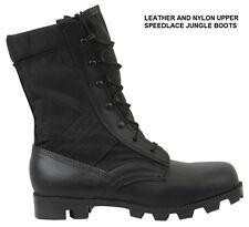 "BLACK SPEEDLACE 9"" Jungle BOOTS Military Style Army USN Marine Corps USMC Combat"