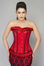 Red Black Satin Frills Goth Burlesque Overbust Black Net Long Skirt Corset Dress