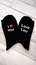 Ladies Or Mens Personalised Any Name I Love You Valentines Black Socks