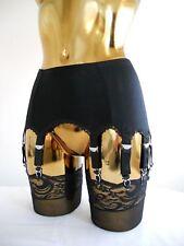 Medium-XL 12 Strap Black Lycra Lace Trim Designer Retro Burlesque Suspender Belt