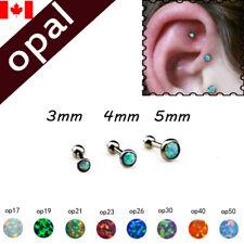 1PC stainless steel opal Cartilage Earring Helix Tragus ear stud  body jewelry