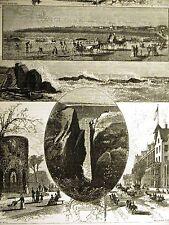 NEWPORT RHODE ISLAND FT. DUMPLING BELLEVUE AVE 1874 Art Print Matted