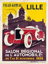 REPRO DECO AFFICHE PALAIS RAMEAU LILLE SALON AUTO 1926  PANNEAU MURAL BOIS HDF