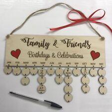 Amici di famiglia compleanni Date Calendario in legno compensato mamma regalo di Natale 2018