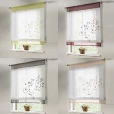 Liftable Kitchen Bathroom Window Roman Curtain Floral Voile Valances