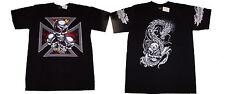 Gothique T-SHIRT pour hommes noir Tête de mort TATOUAGE Dragon Croix L / XL