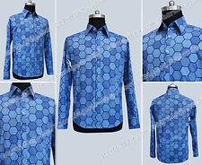 Batman Hexagon Cotton Joker Blue Shirt Halloween Handsome Party Cosplay Costume