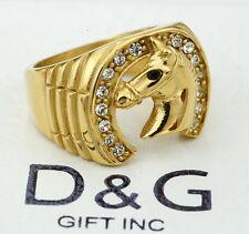 DG Men's Gold Stainless-Steel,Horse Head,Horseshoe.CZ Ring;8.9,10,11,12,13.Box