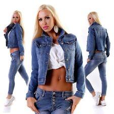 10732 Knackige Damen Jeansjacke Jeans Jacke Kurze Jacke Stretch Denim Basic